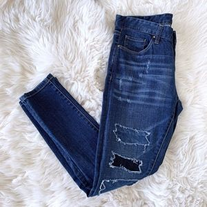 Blank NYC Blue Patchwork Distressed Skinny Jeans
